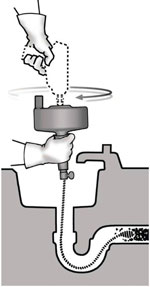 gebruik oprolbare ontstoppingsveer bij verstopt toilet